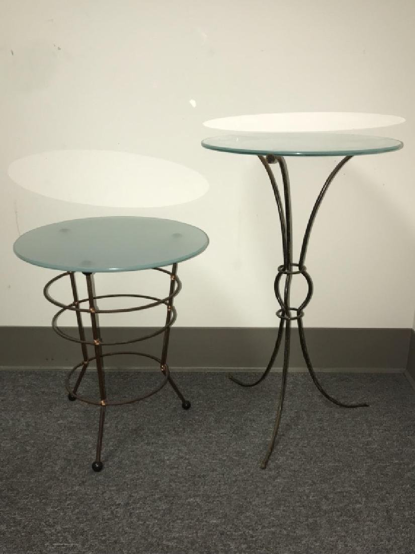 2 Contemporary Metal Base Glass Top End Tables - 4