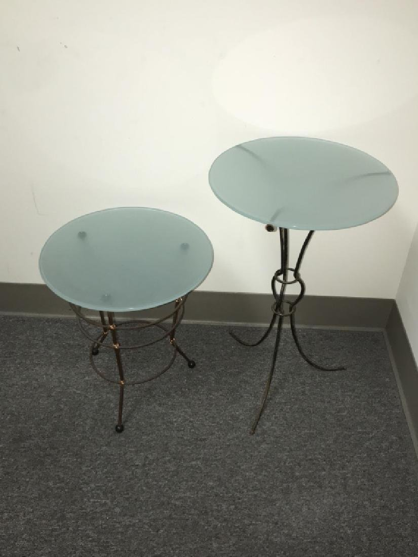 2 Contemporary Metal Base Glass Top End Tables - 5