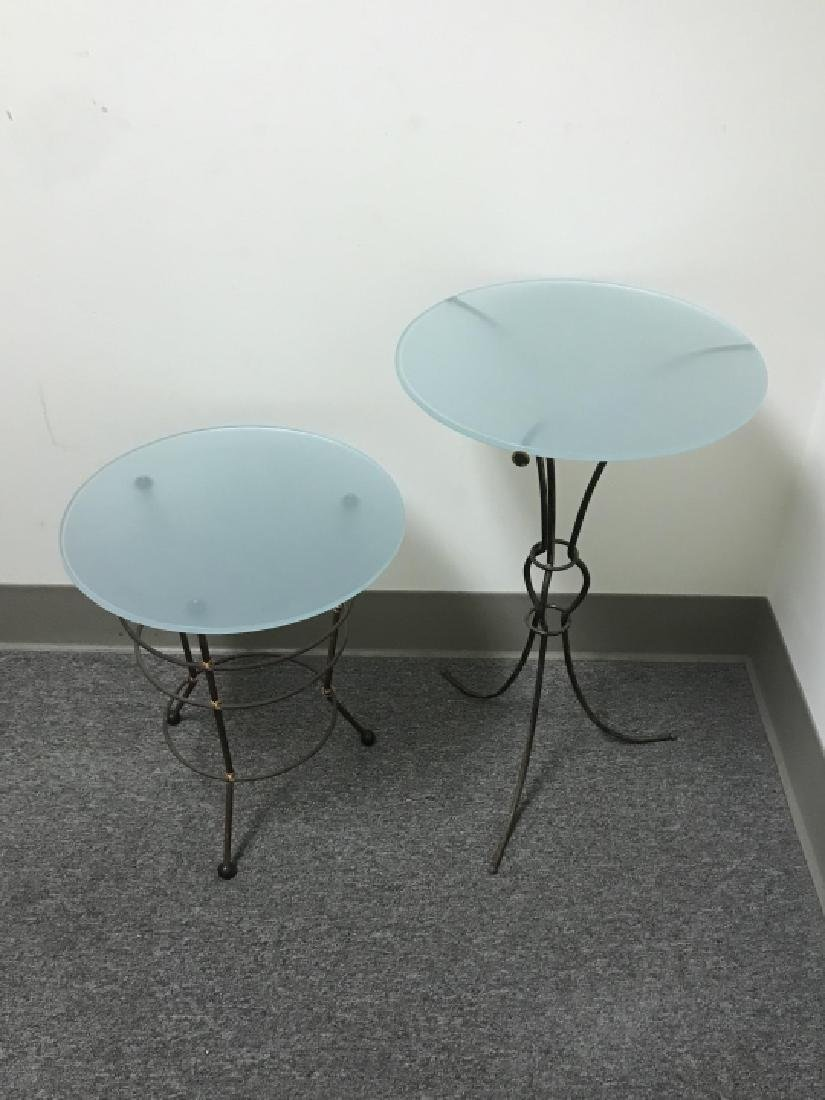 2 Contemporary Metal Base Glass Top End Tables - 6