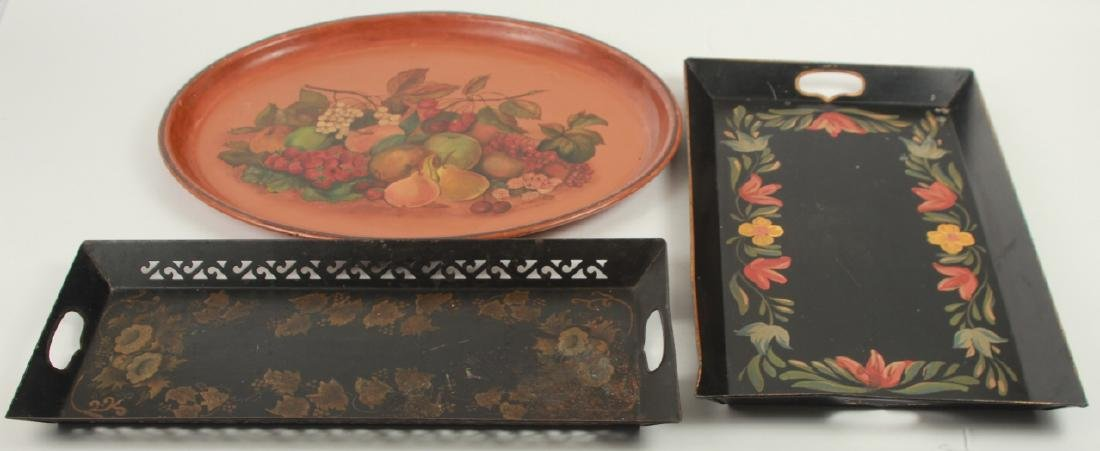 3 Antique Tole Hand Painted Metal Trays
