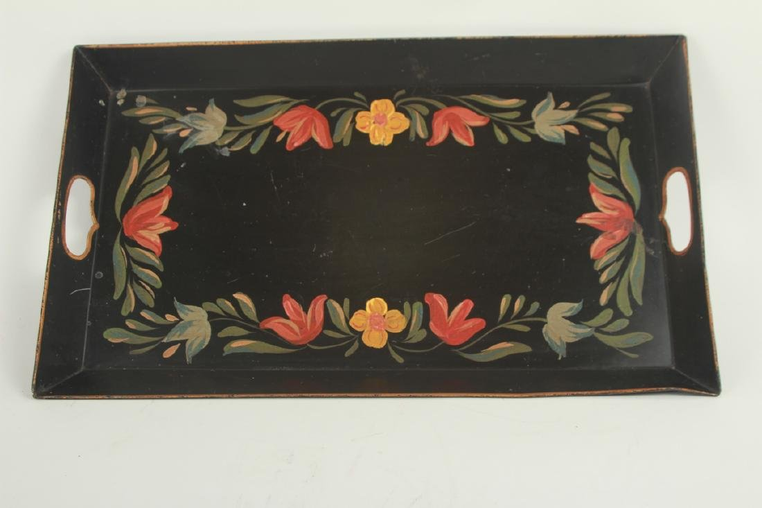 3 Antique Tole Hand Painted Metal Trays - 2