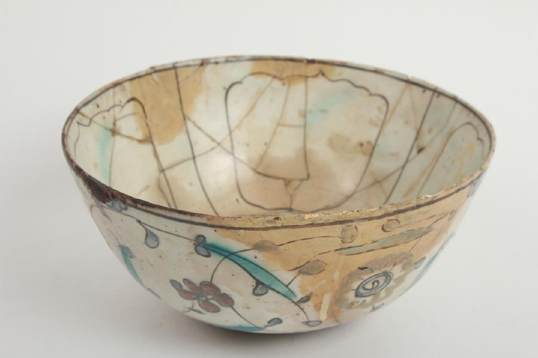 Antique Persian Islamic Glazed Pottery Bowl - 2