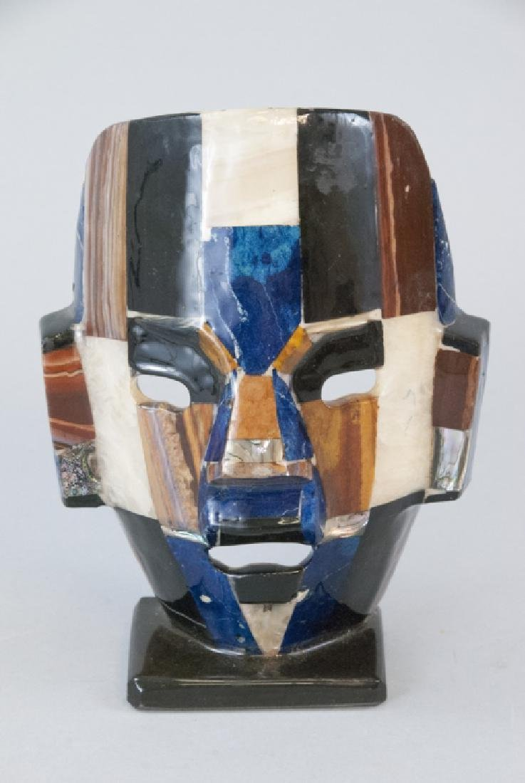 Aztec Folk Mexican Shell & Stone Inlaid Death Mask