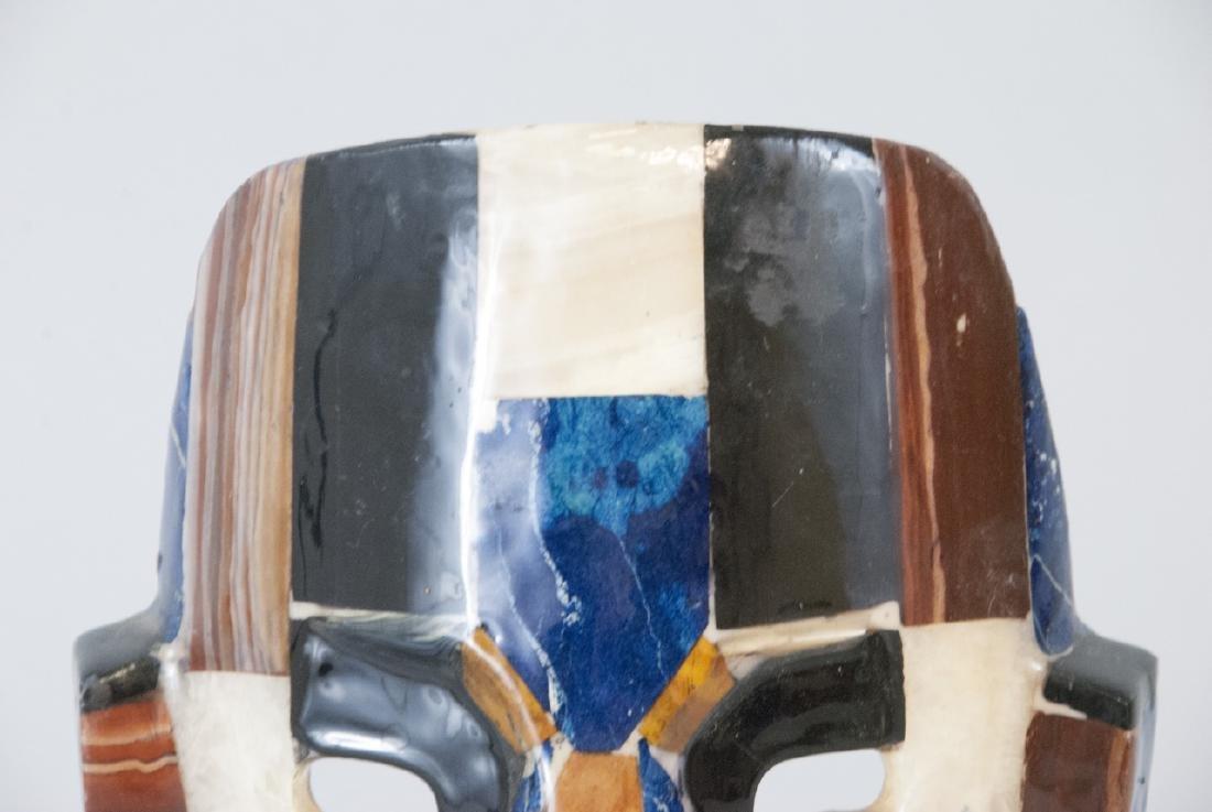 Aztec Folk Mexican Shell & Stone Inlaid Death Mask - 3