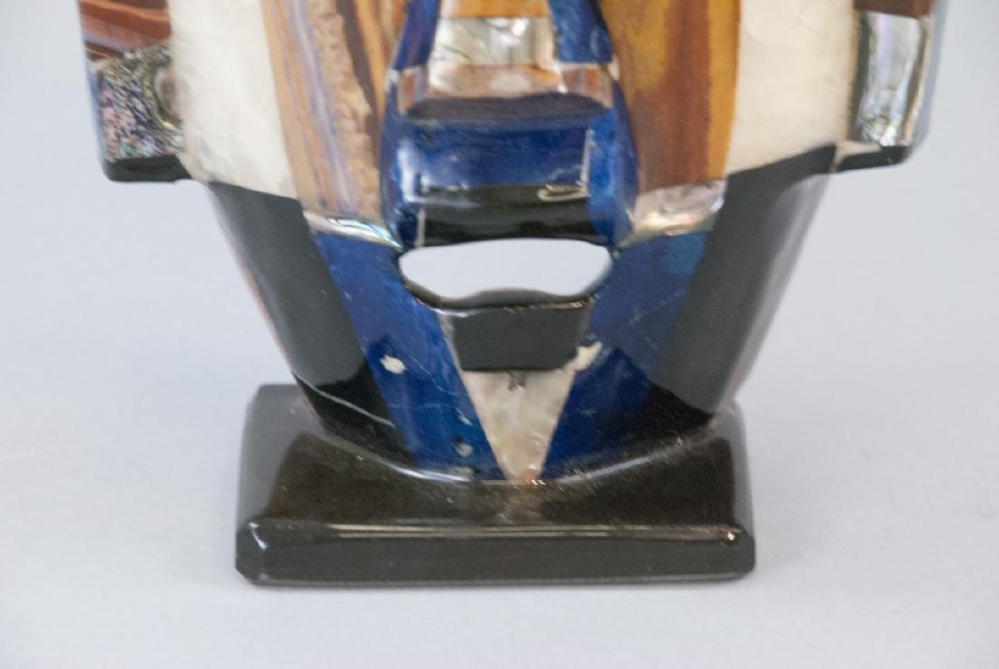Aztec Folk Mexican Shell & Stone Inlaid Death Mask - 4