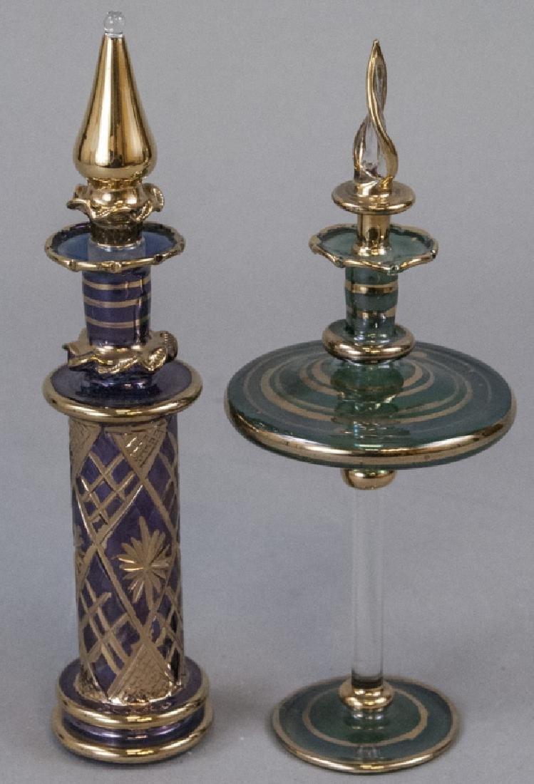 2 Bohemian Glass Perfume Bottles W Gold Leaf