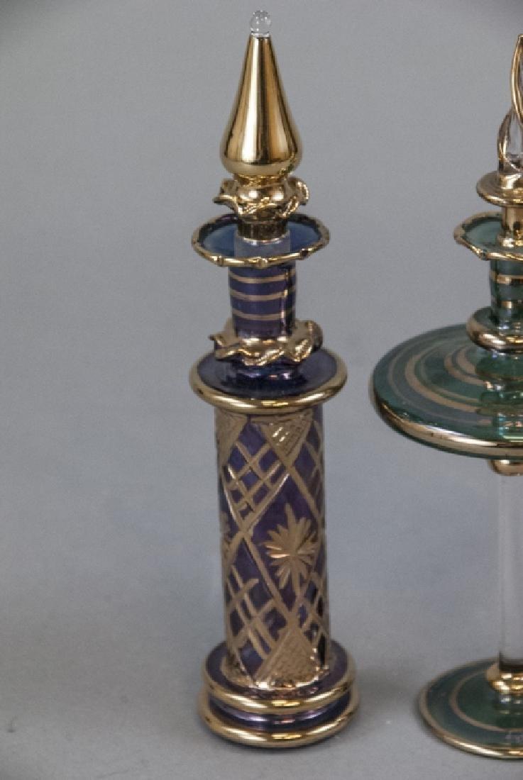2 Bohemian Glass Perfume Bottles W Gold Leaf - 3