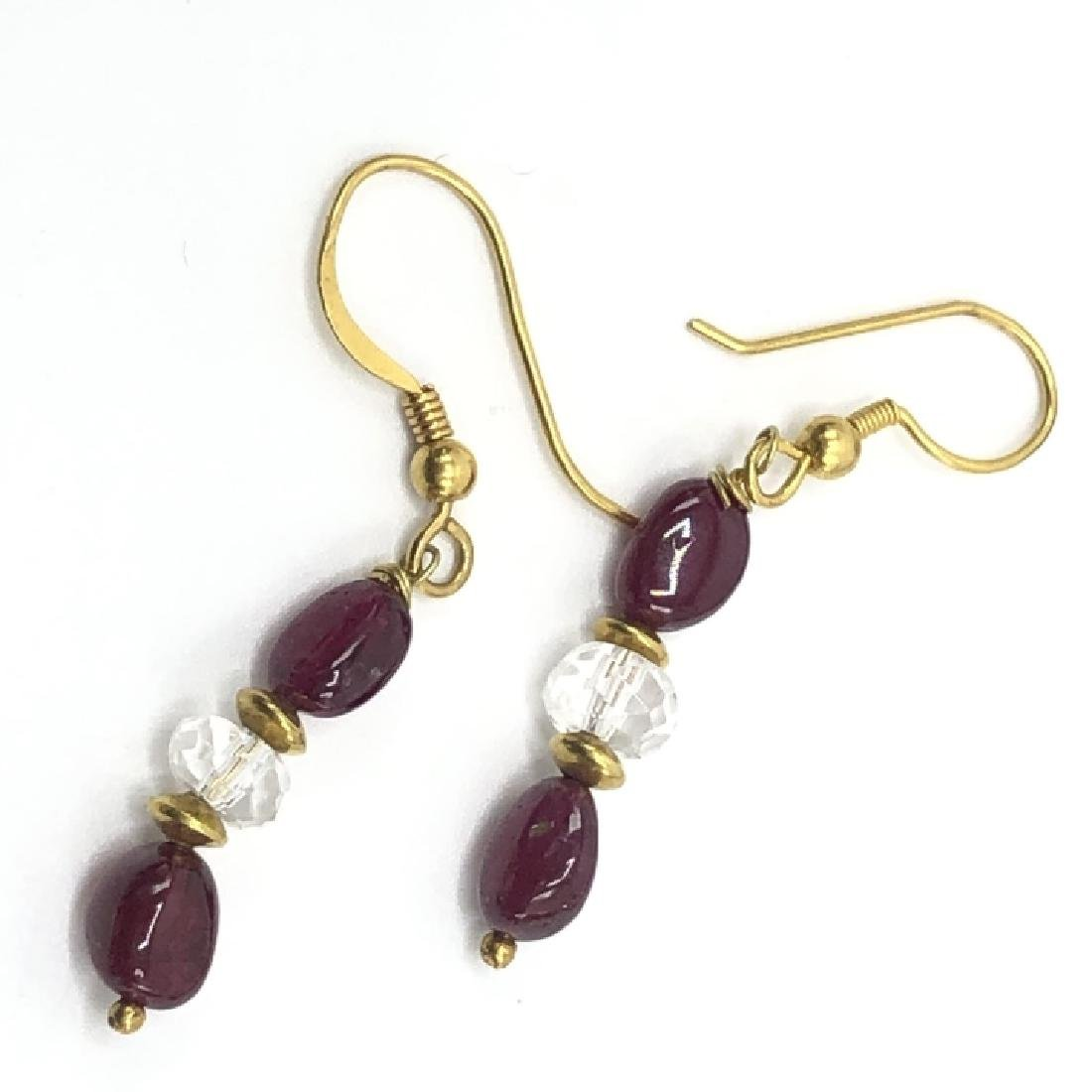 Estate 22kt Yellow Gold Garnet Crystal Earrings