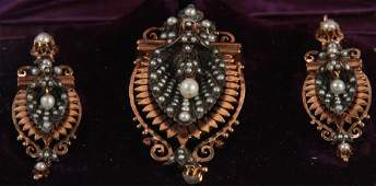 Antique C 1900 14kt Gold & Pearl Jewelry Suite