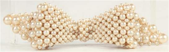 Vintage Costume Jewelry Beaded Pearl Bow Brooch