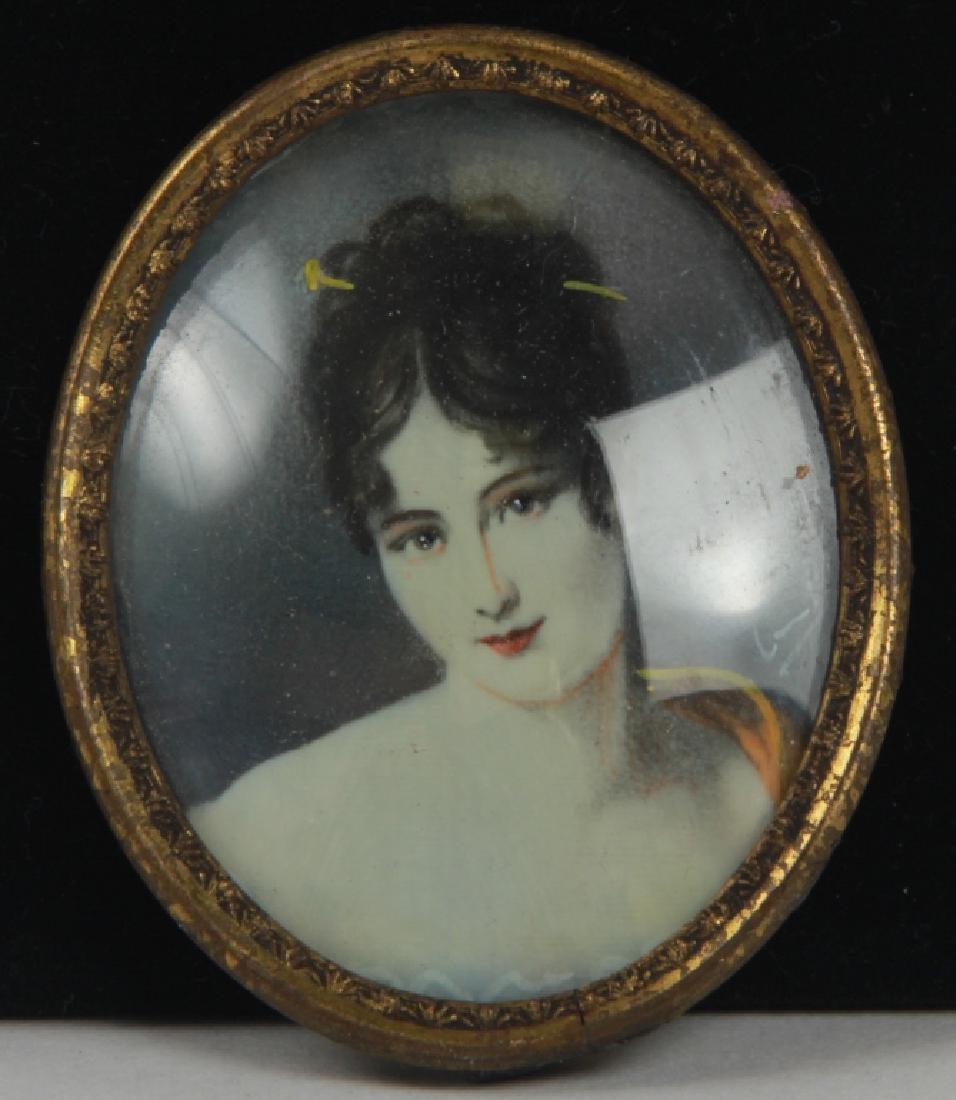 Antique Hand Painted & Signed Portrait Miniature