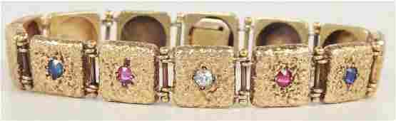 Antique 14kt Gold Diamond Ruby & Sapphire Bracelet