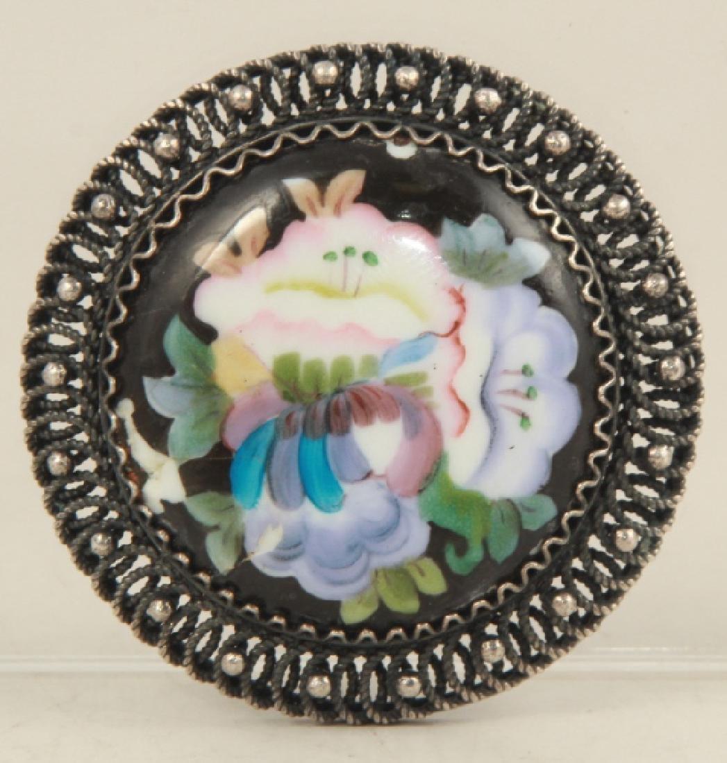 Vintage Sterling Silver & Enamel Floral Brooch