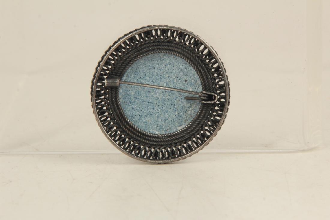 Vintage Sterling Silver & Enamel Floral Brooch - 2