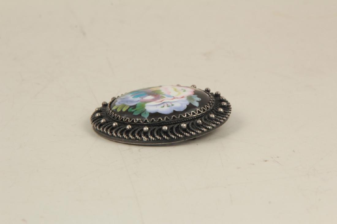 Vintage Sterling Silver & Enamel Floral Brooch - 4