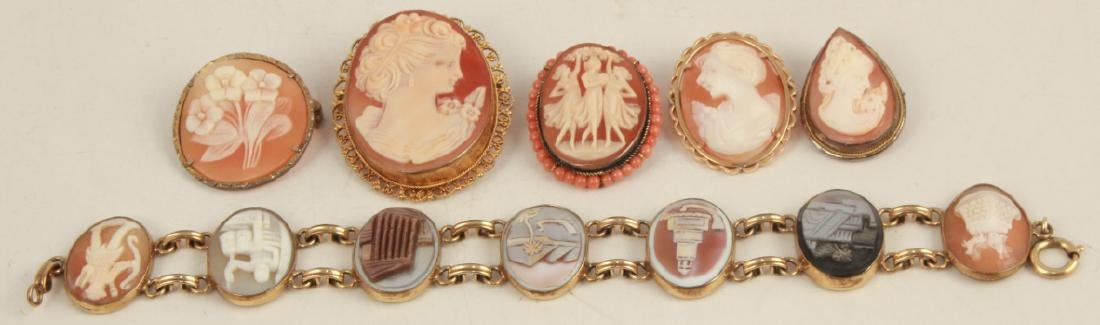Collection Vintage Cameos in Sterling & Gold Fill