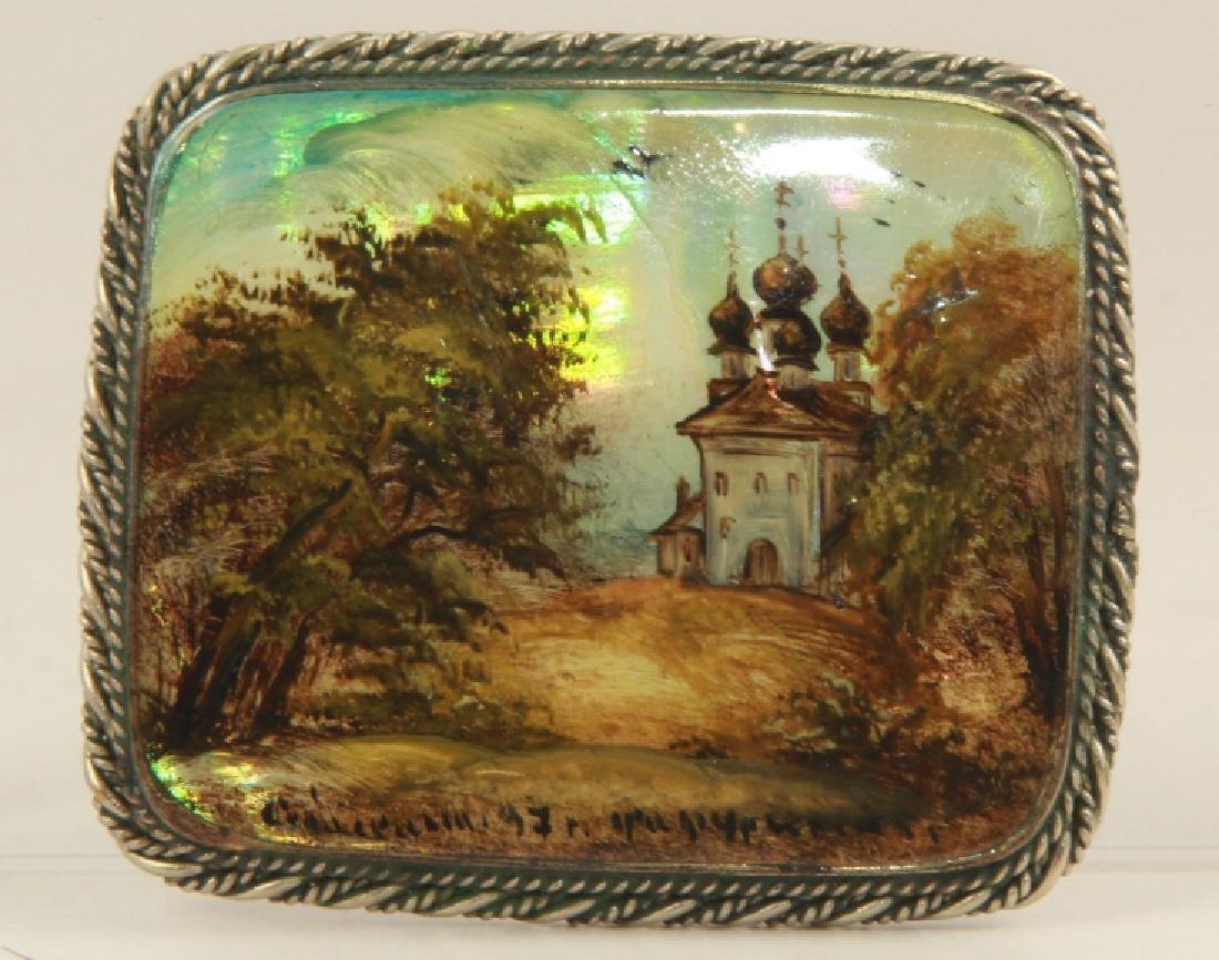Russian Sterling Silver Church Scene Brooch Pin