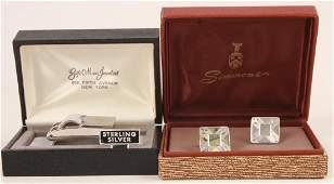 Vintage Sterling Silver Cufflinks  Belt Buckle
