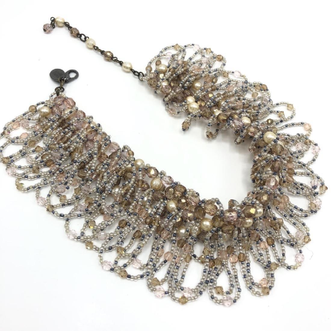 Vintage Erickson Costume Jewelry Beaded Necklace - 4