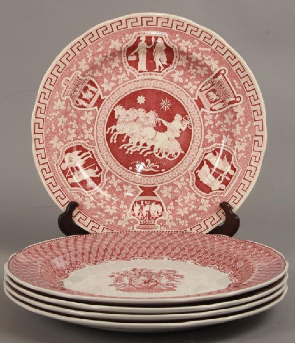 Set of New English Spode Red & White Dinner Plates