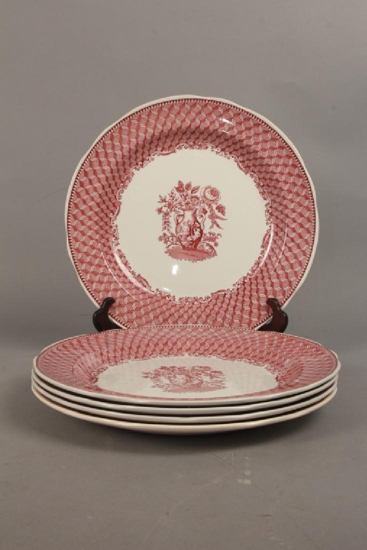 Set of New English Spode Red & White Dinner Plates - 2