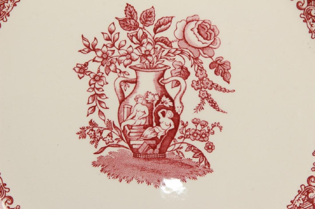 Set of New English Spode Red & White Dinner Plates - 3