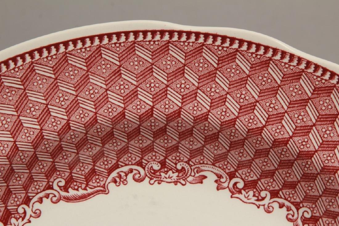 Set of New English Spode Red & White Dinner Plates - 4