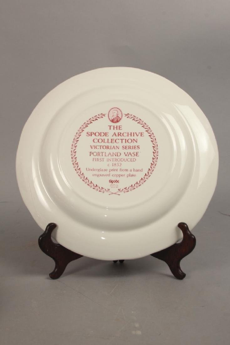 Set of New English Spode Red & White Dinner Plates - 5