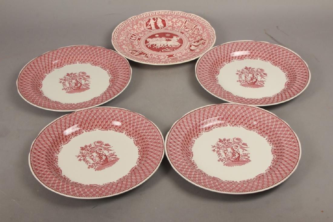 Set of New English Spode Red & White Dinner Plates - 7