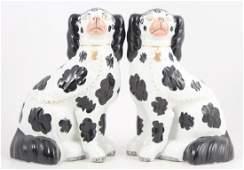 Pair Antique Staffordshire Style Porcelain Dogs