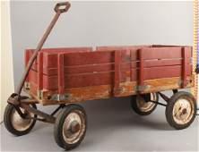 Vintage Radio Flyer Wood Paneled Pull Wagon