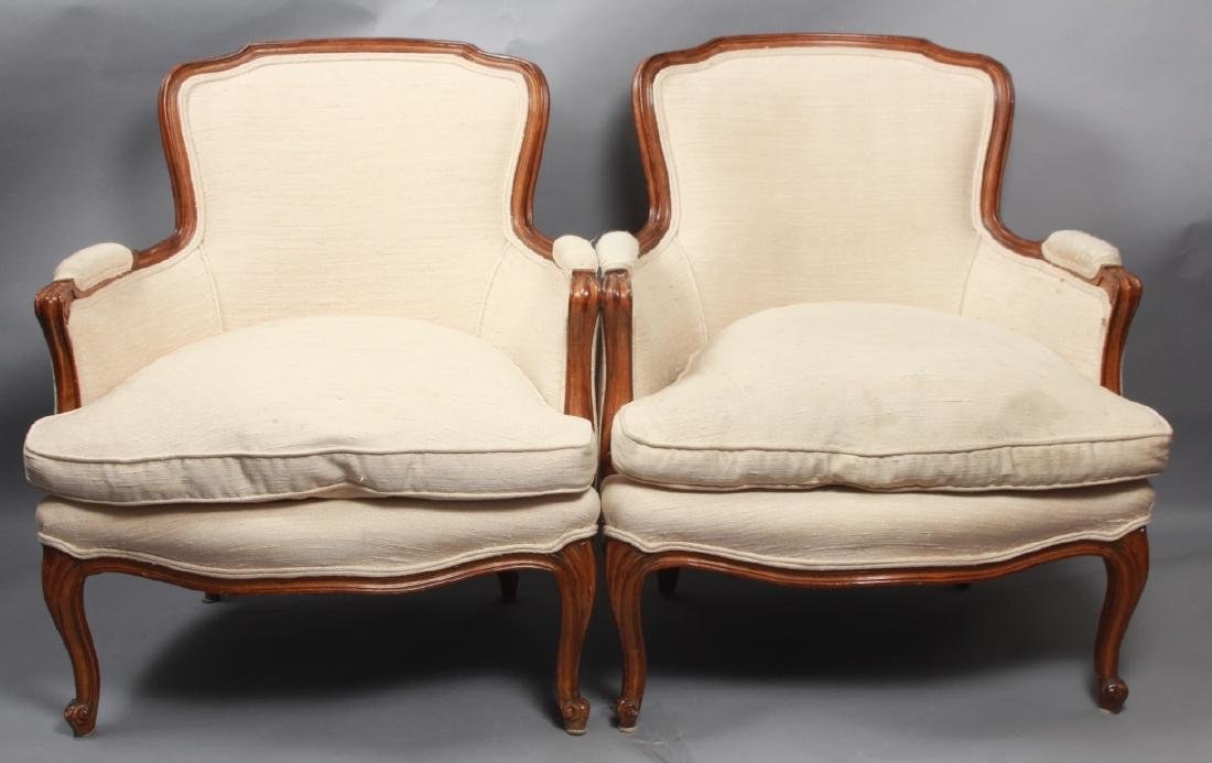 Pair French Louis XV Style Upholstered Arm Chairs