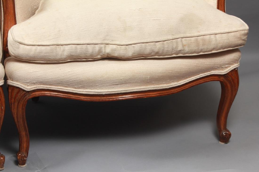 Pair French Louis XV Style Upholstered Arm Chairs - 5