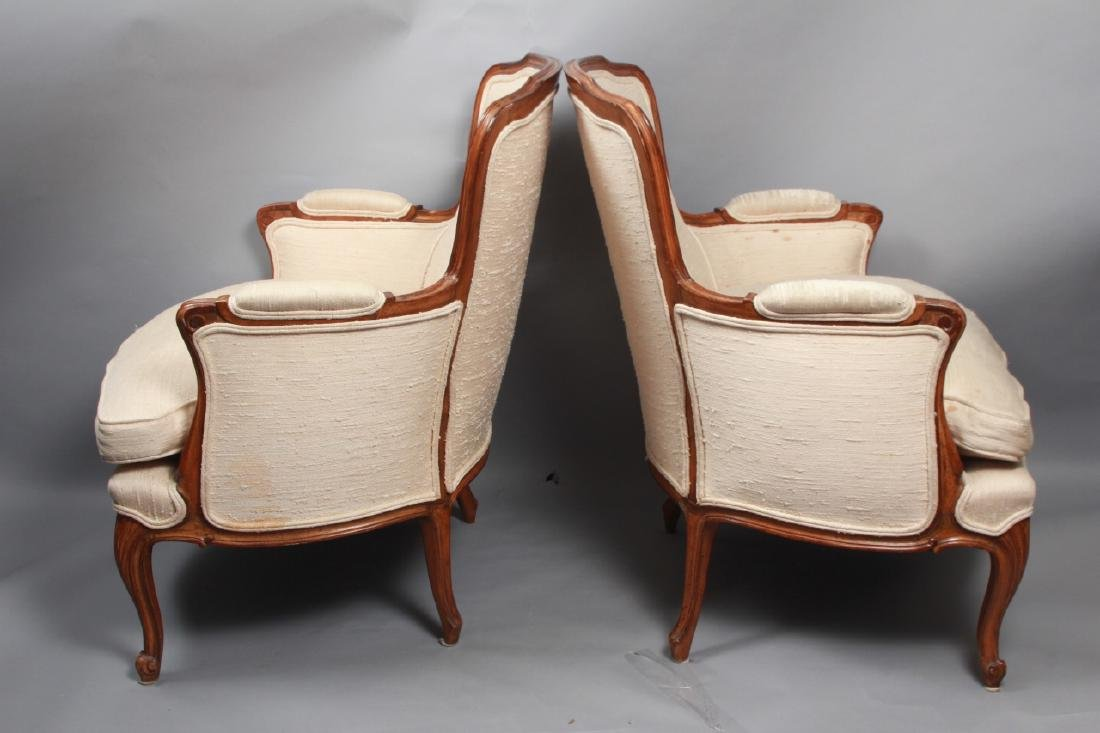 Pair French Louis XV Style Upholstered Arm Chairs - 6