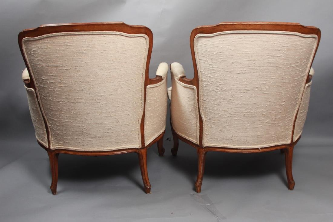 Pair French Louis XV Style Upholstered Arm Chairs - 7