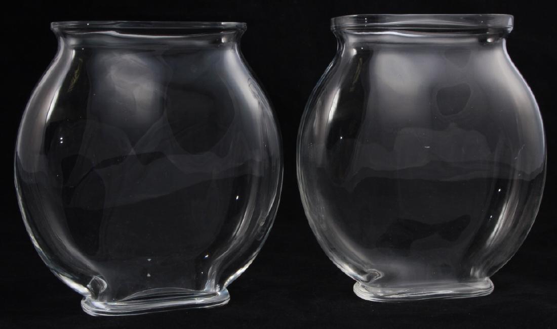 Pair Baccarat France Crystal Fish Bowl Vases