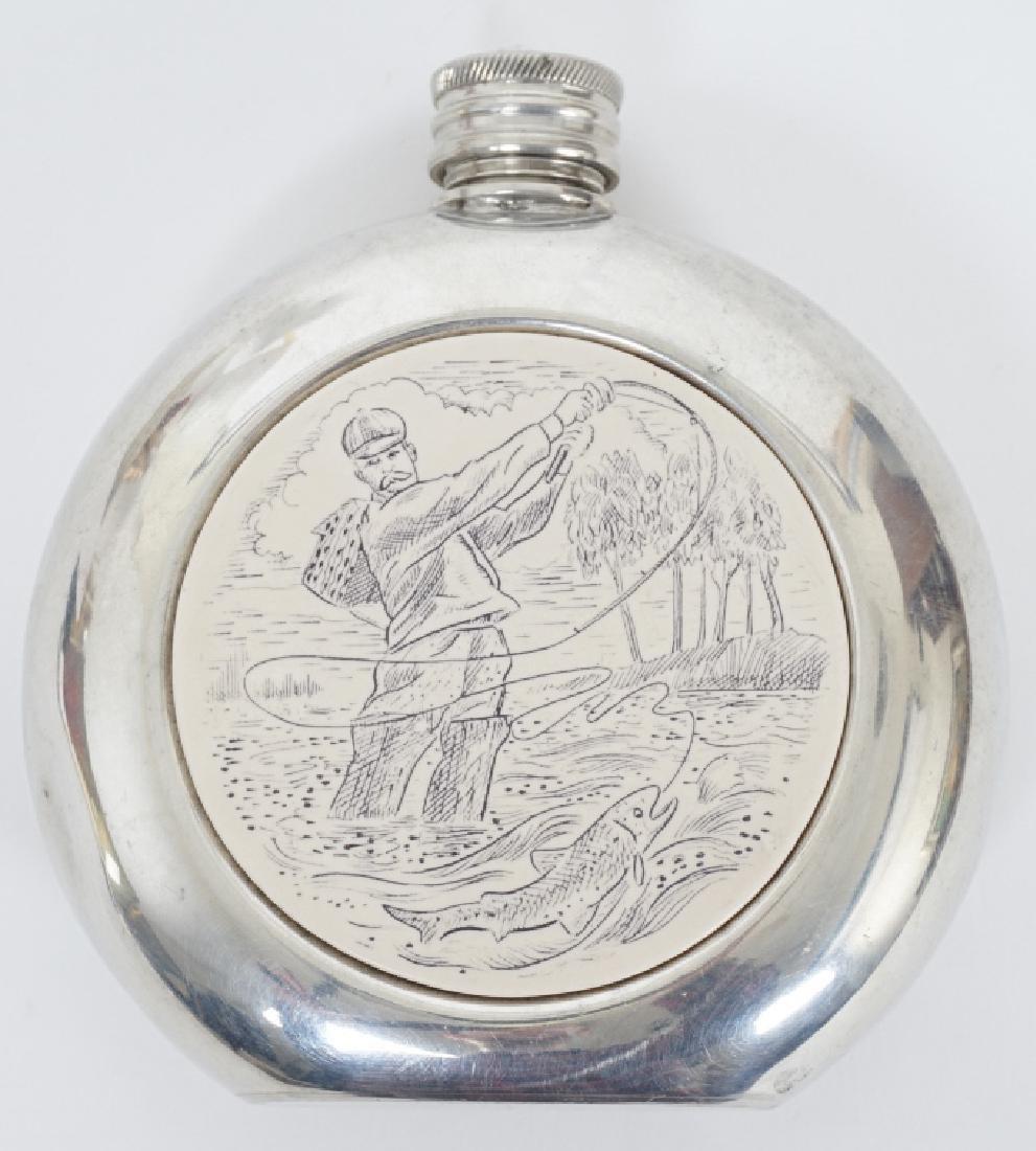 English Sheffield Pewter Faux Scrimshaw Flask