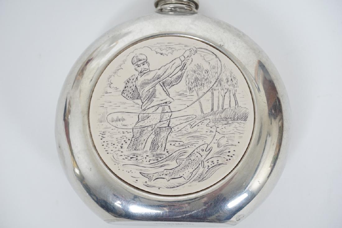 English Sheffield Pewter Faux Scrimshaw Flask - 2