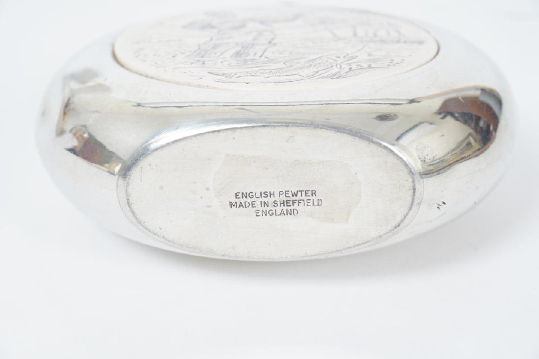 English Sheffield Pewter Faux Scrimshaw Flask - 7