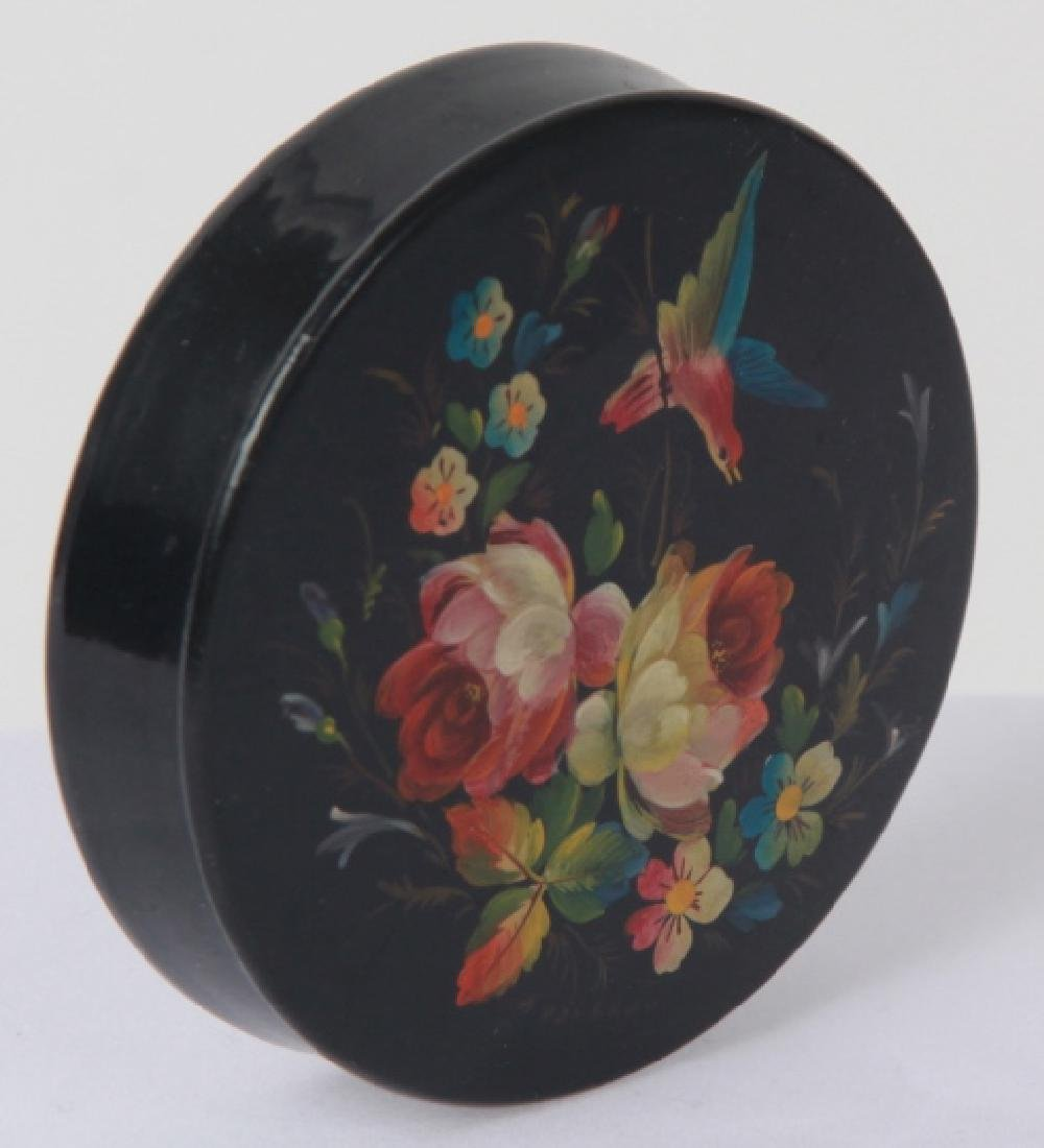 Hand Painted Russian Lacquer Snuff or Pill Box
