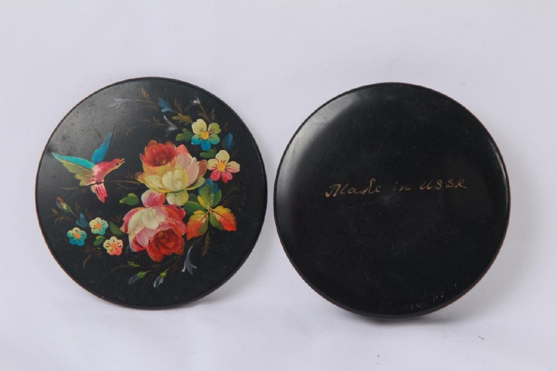 Hand Painted Russian Lacquer Snuff or Pill Box - 4