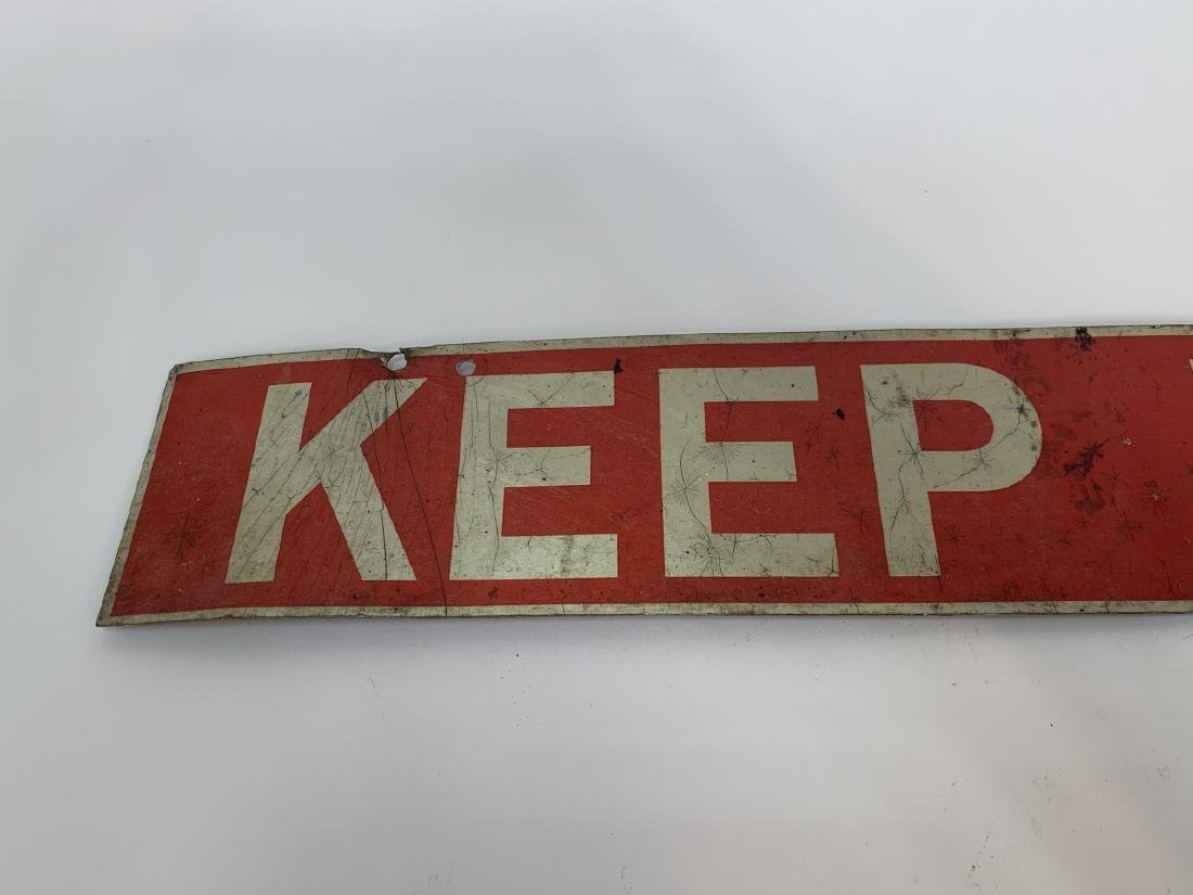 "Vintage ""Keep Back"" Tin Metal Wall Sign - 3"