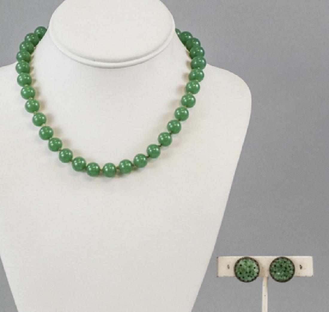 Chinese Peking Glass Jade Necklace & Earrings