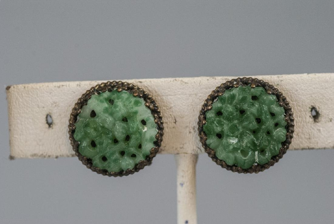 Chinese Peking Glass Jade Necklace & Earrings - 2