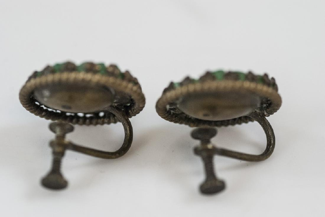 Chinese Peking Glass Jade Necklace & Earrings - 3