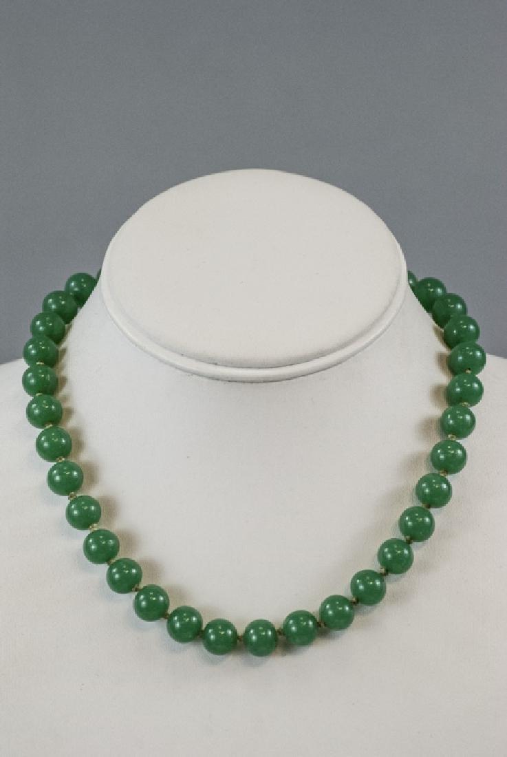 Chinese Peking Glass Jade Necklace & Earrings - 4