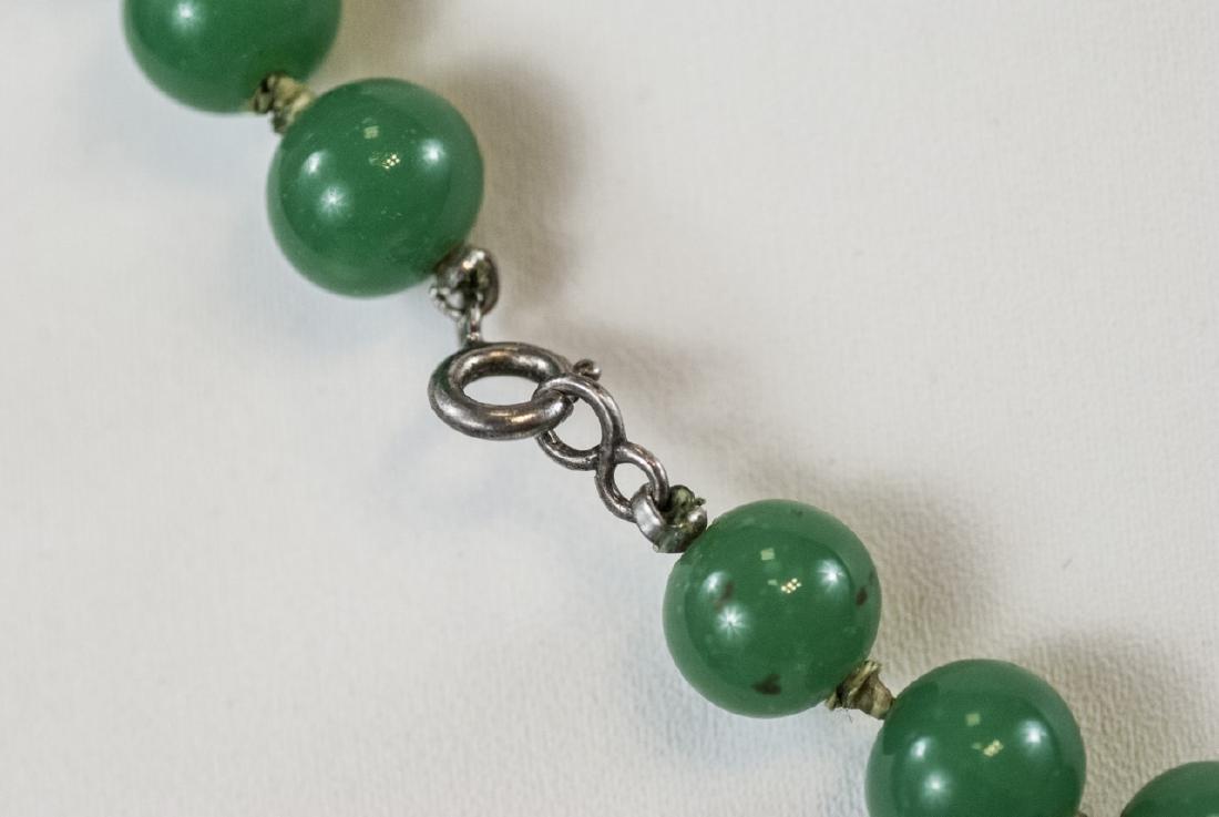 Chinese Peking Glass Jade Necklace & Earrings - 5