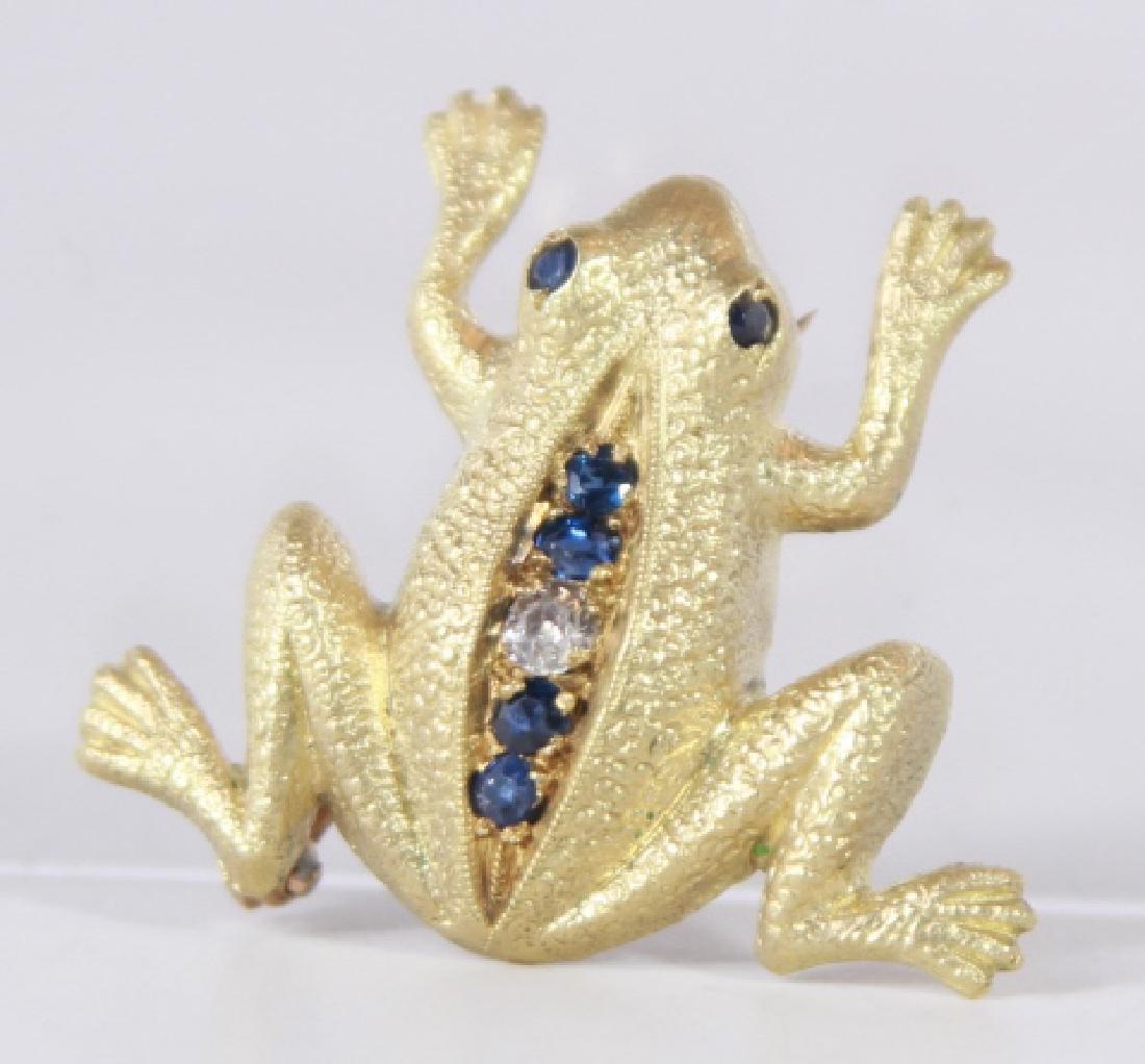 Estate 14kt Yellow Gold Diamond Sapphire Frog Pin