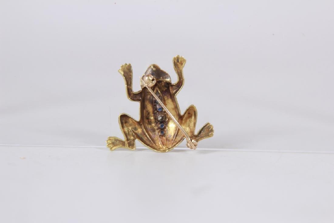 Estate 14kt Yellow Gold Diamond Sapphire Frog Pin - 2