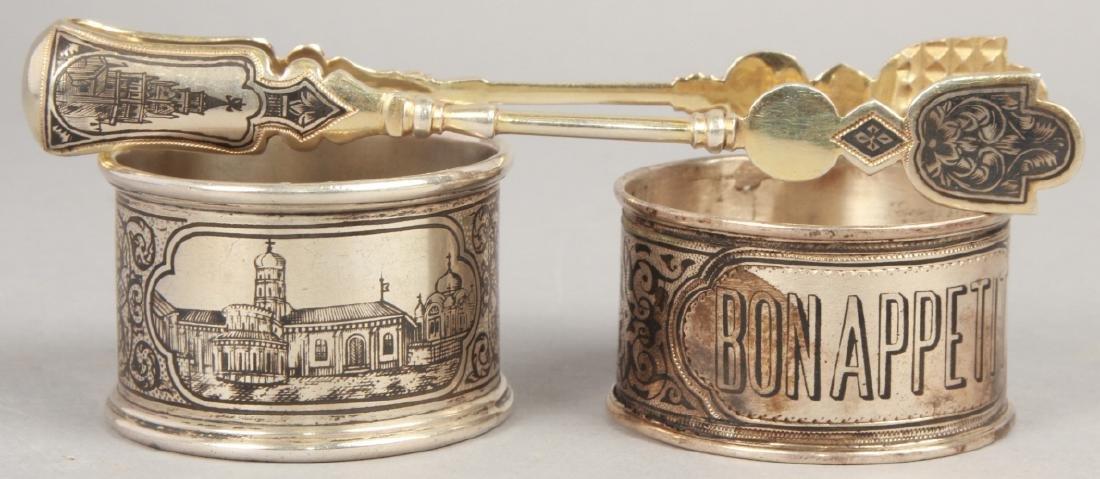 3 19th C Russian Silver Niello Serve Ware Pieces